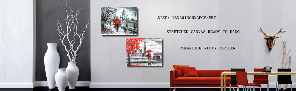 Kreative Arts - Red Umbrella Couple Painting Canvas Art Wall Decor Print Romantic London Street Landscape Paintings Canvas Set of 2 Ready to Hang