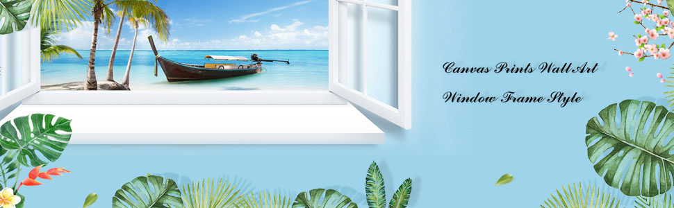 Canvas Print Wall Art Window Frame Style Palm Tree Seascape Picture Wall Decor
