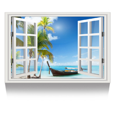 Palm Tree Seascape Picture Wall Decor Stretched Giclee Print