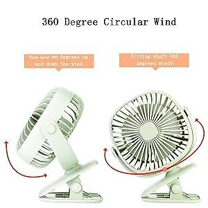 360 Degree Rotation Clip Fan Rechargeable Small USB Fan for Office Dorm JAKAGO Portable Baby Stroller Fan Mini Desktop Fan with Led Light Green Bicycle