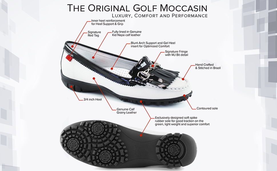 womens leather golf moccasin