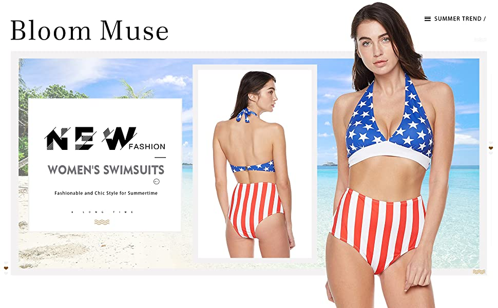 e795cd78a Bloom Muse Women's High Waisted Swimsuit Two Piece Bathing Suit American Bikini  Set Halter Swimwear