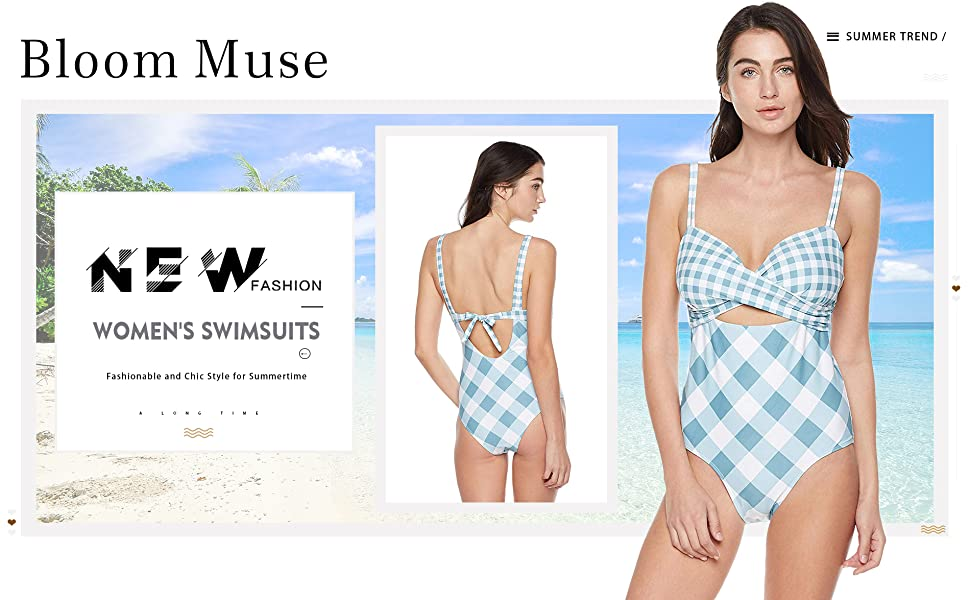 1d0f41e79 Bloom Muse Women's High Waisted Swimsuit One Piece Bathing Suit Cutout  Striped Swimwear