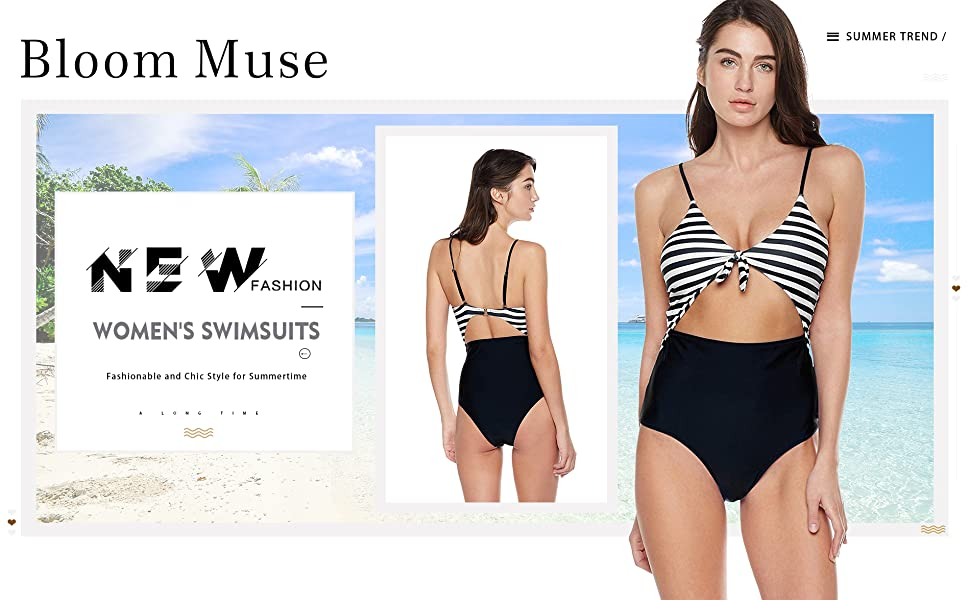 368da668e2 Bloom Muse Women's High Waisted Swimsuit One Piece Bathing Suit Tie Bikini  Set Striped Swimwear