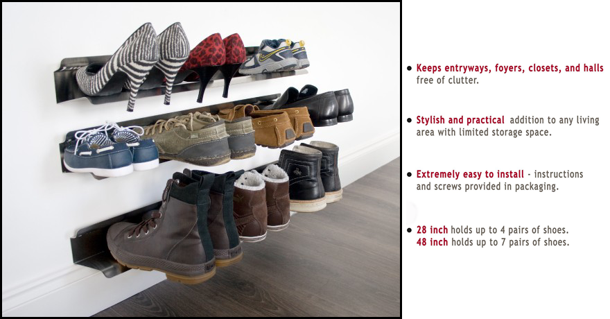 The Horizontal Shoe Rack is a clever shoe storage solution and a piece of contemporary wall art in one! Our wall mounted shoe organizer holds your sneakers ...  sc 1 st  Amazon.com & Amazon.com: j-me Horizontal Shoe Rack Organizer Mounted Wall Storage ...
