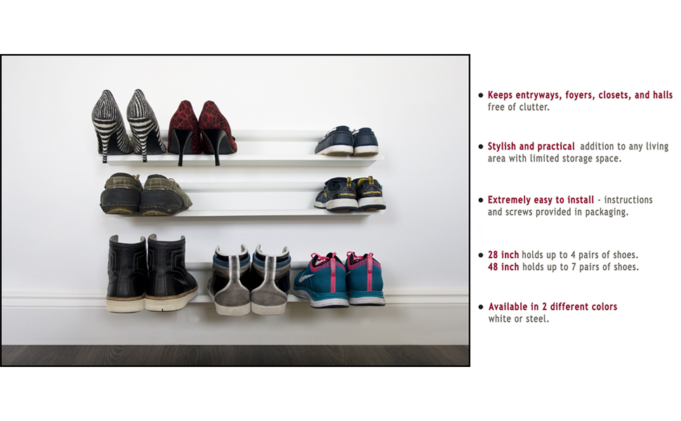The Horizontal Shoe Rack Is A Clever Shoe Storage Solution And A Piece Of  Contemporary Wall Art In One! Our Wall Mounted Shoe Organizer Holds Your  Sneakers, ...