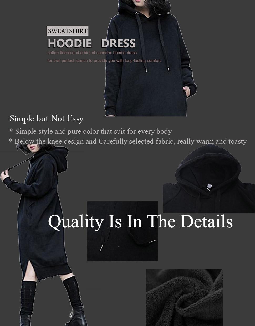 68b74a8f716 Women s Thickening Long Fleece Sweatshirt String Hoodie Dress Pullover Plus  Size