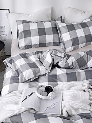 plaid grid duvet cover set
