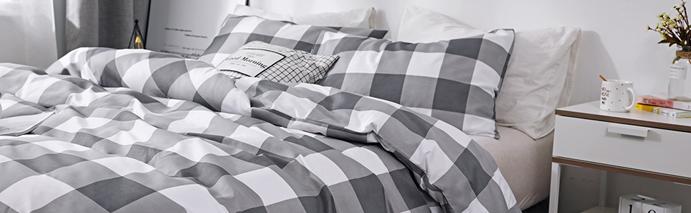 grey Buffalo Check duvet cover set