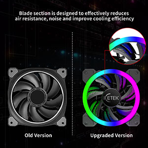 RGB Case Fans 120mm 5 Pack, ICETEK 3In1 Kit LED PC Computer Case Fan RGB,  366 Modes with Controller and Remote, Reinforced Quiet Fan Blade Design,