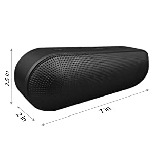 2BOOM Wireless Bluetooth Pill Speaker BT422, Portable, Built-in Microphone,  Lightweight, Aux-in, FM Radio, USB Input, Loud Sound, Rich Bass - Black