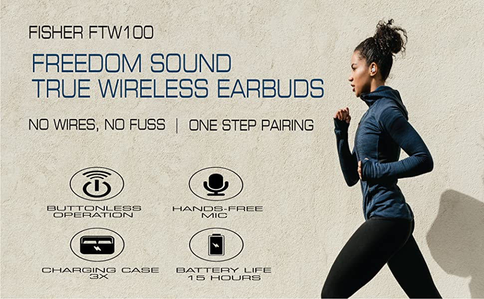 6f97928b8fd Fisher true wireless Bluetooth earbuds charging carry case built in  microphone button-less earphones