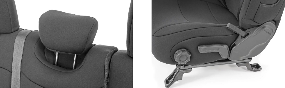 2018-2020 Jeep Wrangler JL 4DR Rear Armrest fits Rough Country 91012 Neoprene Seat Covers Black Front Water Resistant