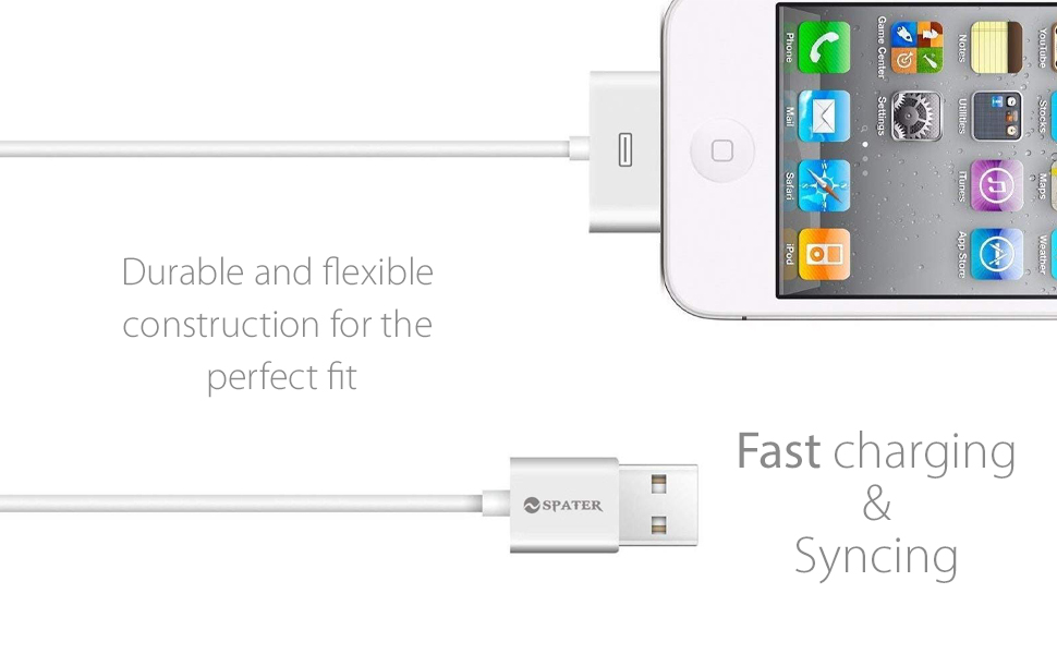 Amazon.com: iPhone 4s Cable, 30-Pin USB Sync and Charging ...