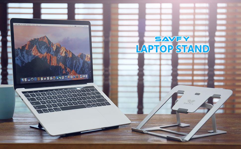 SAVFY Aluminum Laptop Stand Travel Foldable Laptop Stand Tablet Desktop Holder Multi-Angle PC Laptop Stand Silver