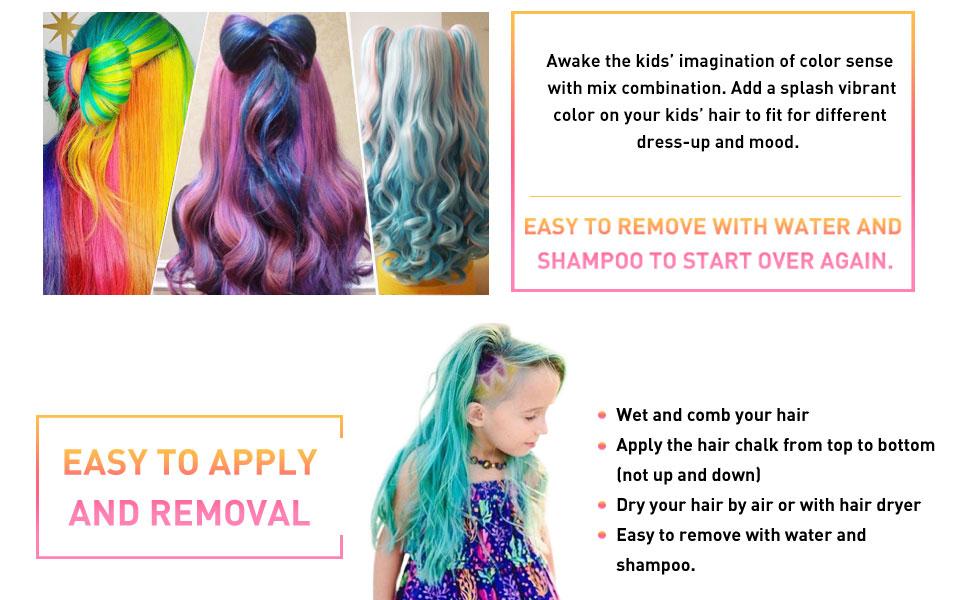 Coloring for Kids hair color spray for kids : Amazon.com: Qivange Hair Chalk Pens Gift for Kids 12 Temporary Hair ...