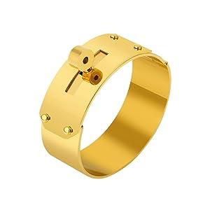 super cute amazon new style Designer Inspired Titanium Steel Wide Cuff Sliding Shackle Bracelet Bangle  Unisex