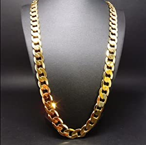 Hollywood Jewelry 24k Gold Chain Necklace 9mm Shinny For