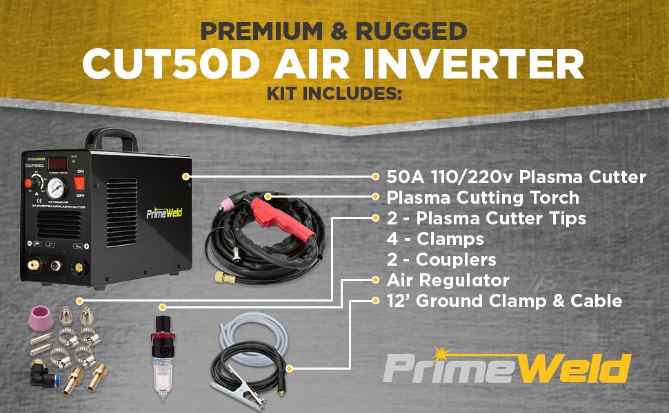 Key features of Primeweld 50A Air Inverter Plasma Cutter