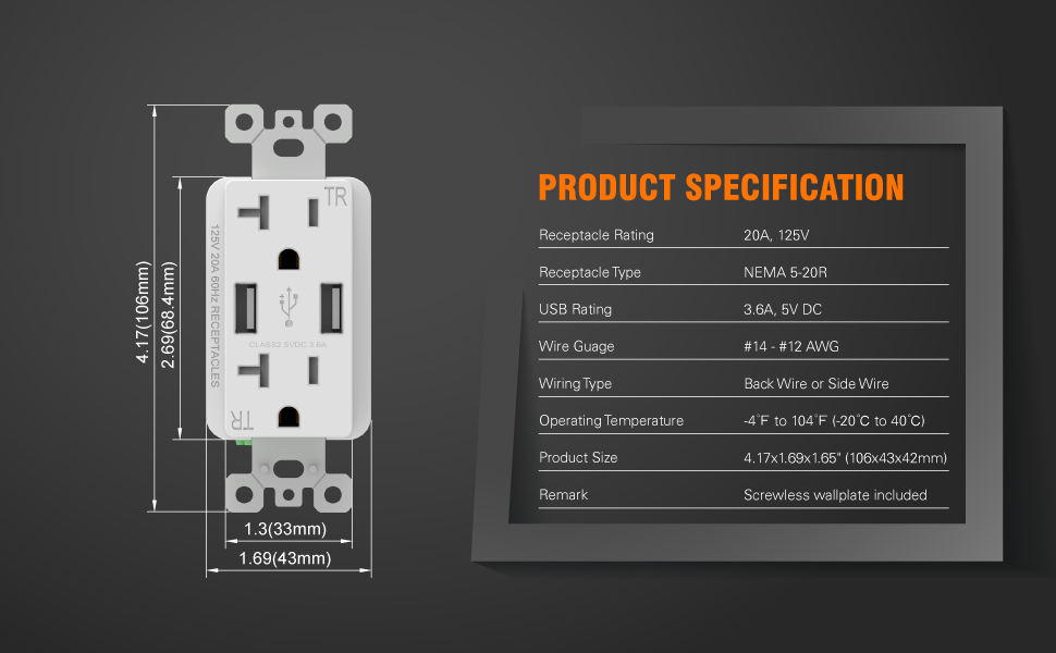 5. ELEGRP Product Specification of 4.0A USB Outlet and 15A NEMA 5-15R Receptacle