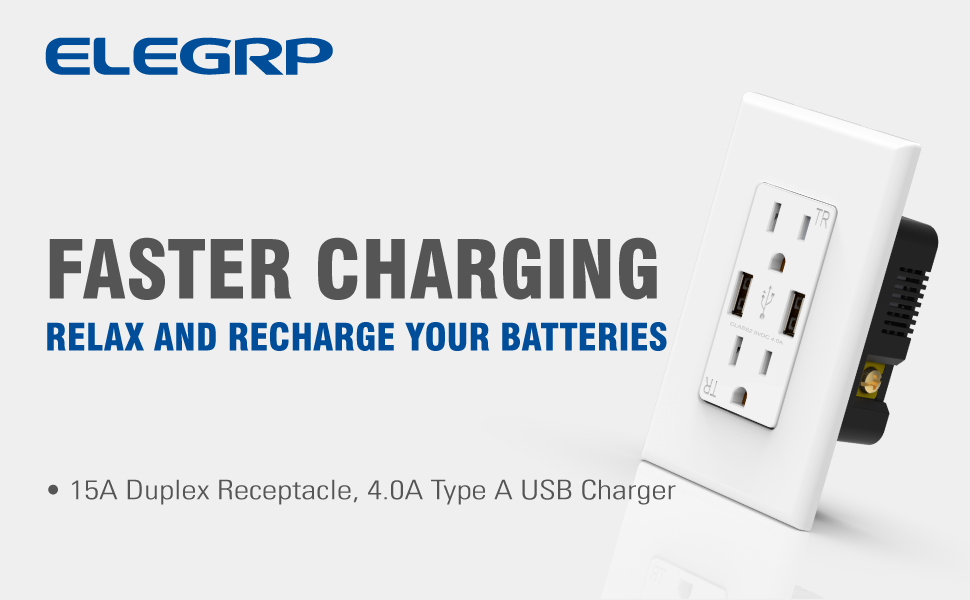 15A Duplex Receptacle 4.0A Type A USB Charger