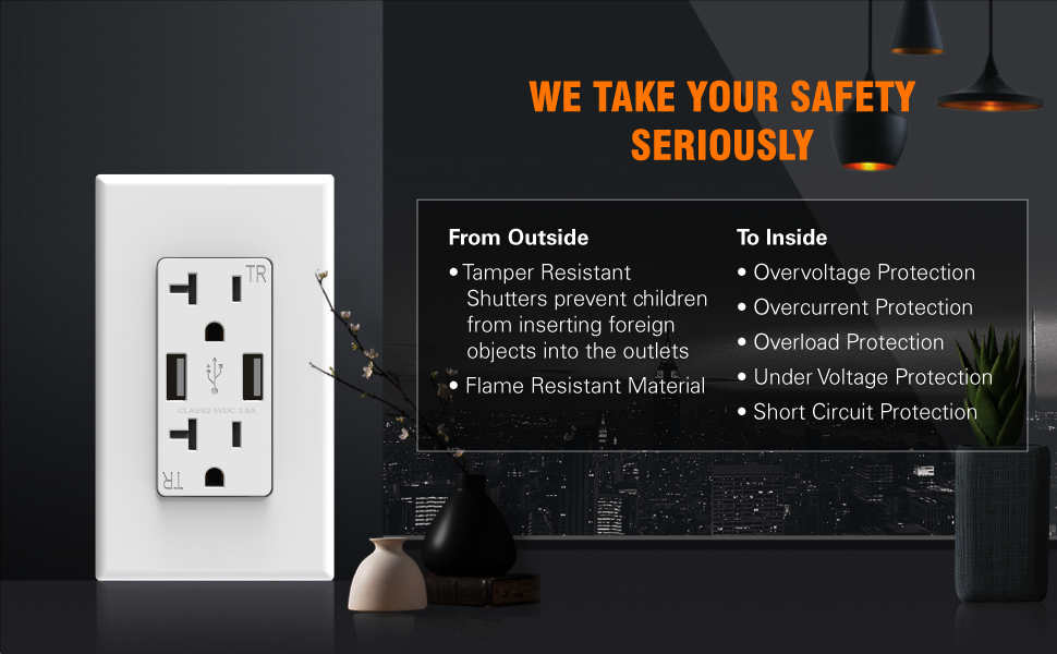 2. ELEGRP High Speed USB Outlet with Tamper Resistant Shutters Protects Your Family
