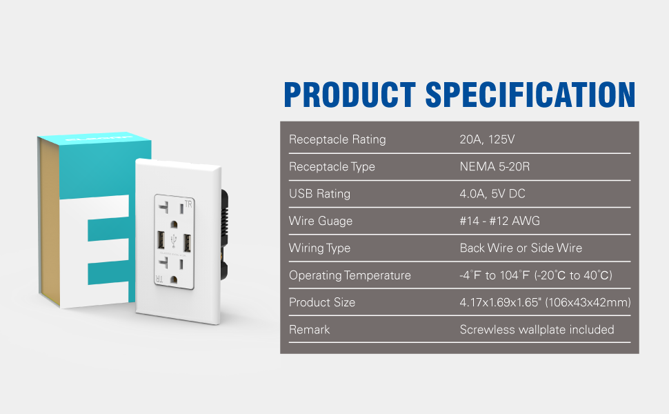 Product Specification of 4.0A USB Outlet and 20A NEMA 5-20R Receptacle