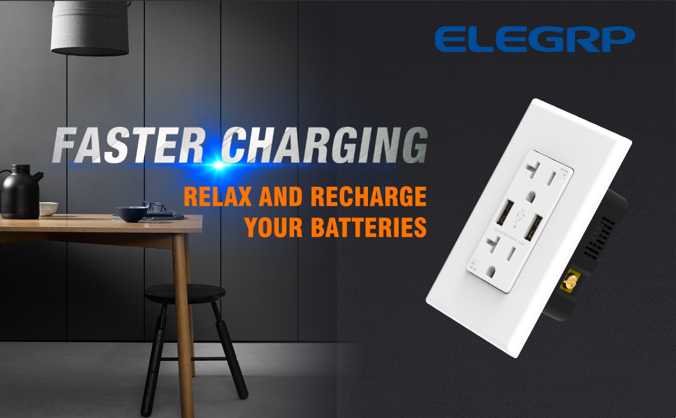ELEGRP 20A Duplex Receptacle 4.0A Type A USB Charger