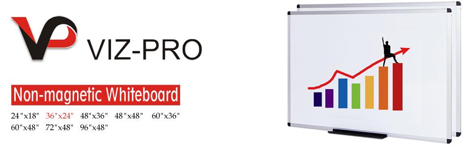 VIZ-PRO Dry Erase Board/Whiteboard, Melamine, 36 x 24 Inches, 2 Pack, Silver Aluminium Frame