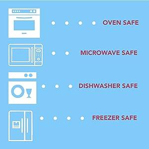 Oven, Microwave, Dishwasher, & Freezer Safe