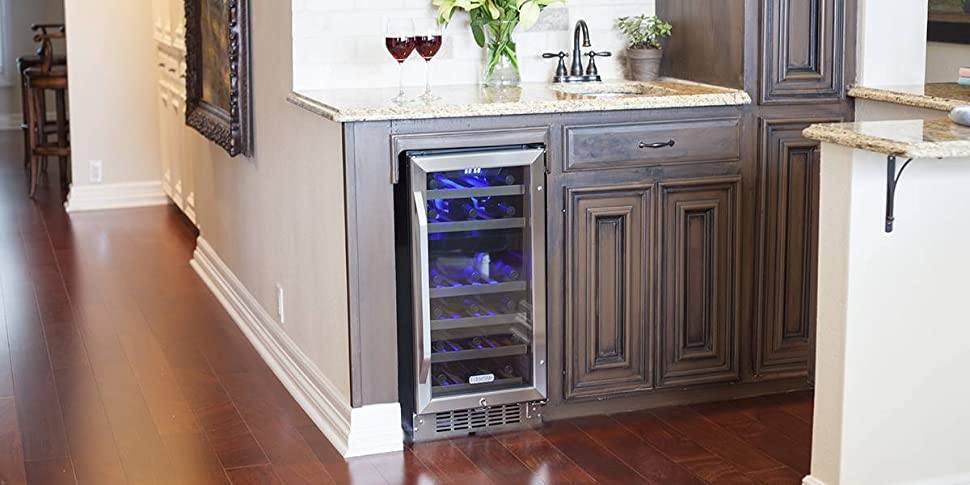 EdgeStar 26 Bottle Dual Zone Stainless Steel Built-In Wine Cooler -  Black/Stainless Steel