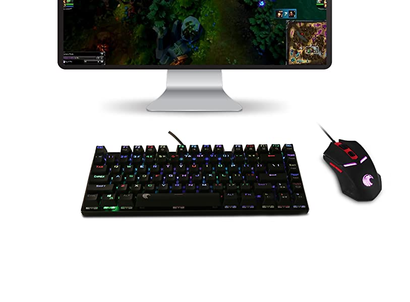 8046decb79b E-Element Z88 RGB LED Backlit Mechanical Gaming Keyboard Compact 81-keys  Space Saving Design, frees up workspace on your desk without sacrificing ...