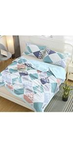 comforter set duvet cover quilt coverlet bedding bed set white floral triangle geometric bed set