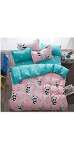 Girls panda bedding comforter sets twin pink for kids duvet cover bedroom décor bed set Egyptian