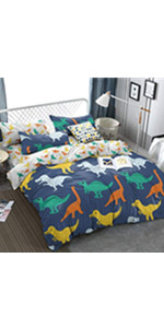 kids bedding duvet cover set dino toy for boys bedroom decor