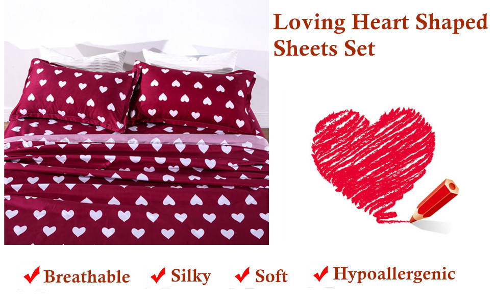 bed twin fitted sheets bedsheets red soft cotton heart pattern flat top pillowcases girl love heart