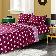 Bed sheet set twin bedding sets in a bag love heart shaped red quilts bedspreads jersey silk