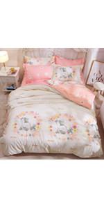 unicorn bed duvet cover set coverlet bedspread soft breathable cute sheet pillow