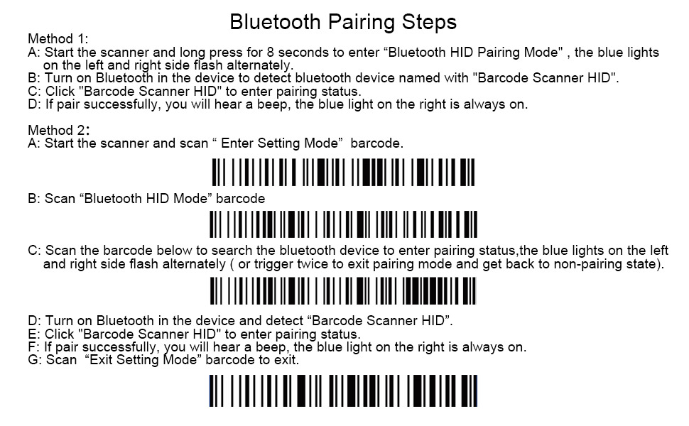 Portable Bluetooth Barcode Scanner,Symcode 1D Mini Wireless