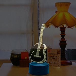 Amazon yiamia guitar 3d optical illusion night light music note acrylic flat sided with 3 protective films two protective films on the front and one on backplease remove protective films before use aloadofball Images