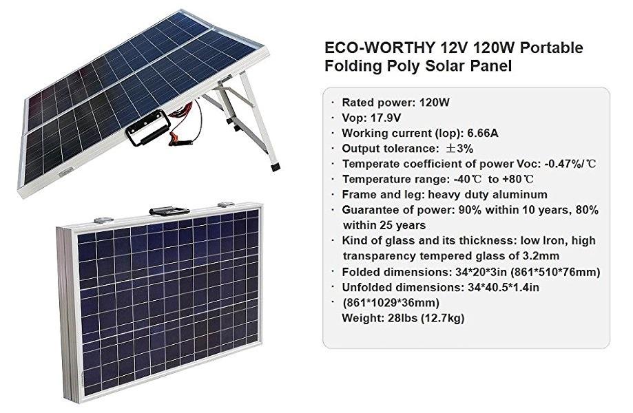 Amazon Com Eco Worthy 120 Watts 12volt Portable Folding