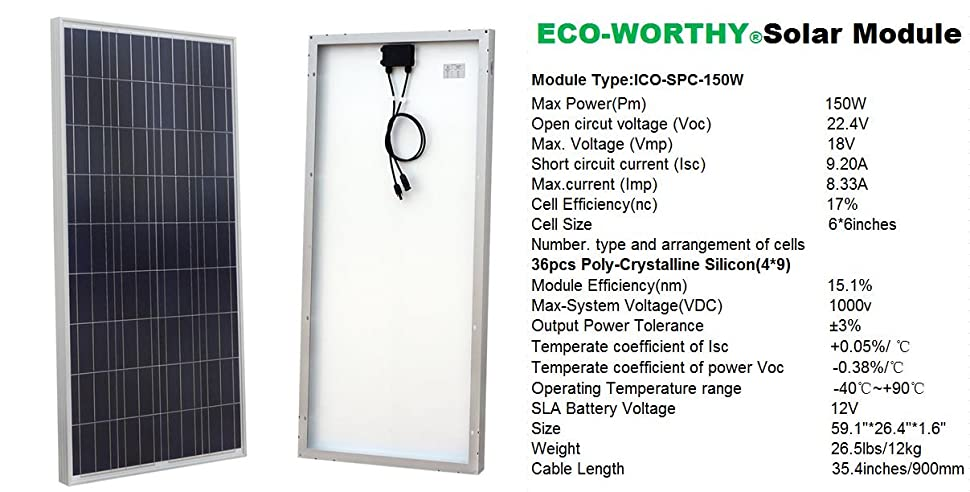 Amazon Com Eco Worthy 900 Watt 24 Volt Solar Panel Off Grid Rv Boat Kit With 60a Pwm Charge Controller Garden Outdoor