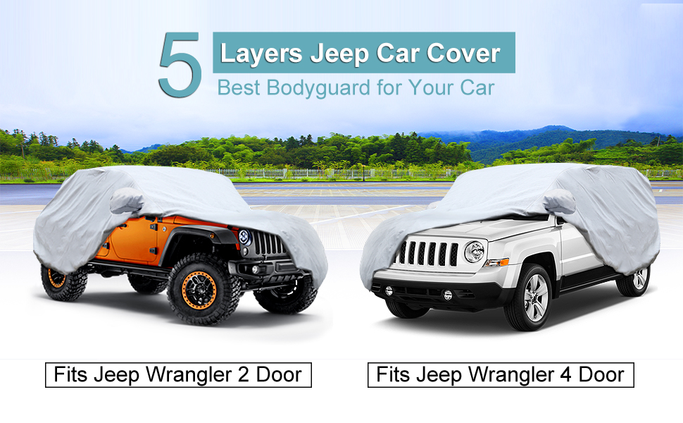 b6413b3dfe Amazon.com: KAKIT 5 Layers Jeep Cover for Jeep Wrangler CJ,YJ, TJ ...