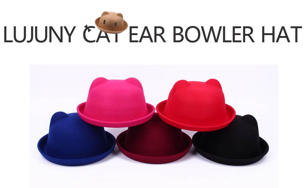 52eda19ca34e0 Lujuny Cat Ear Wool Derby Hats - Cute Bowler Fedora Caps with Roll ...