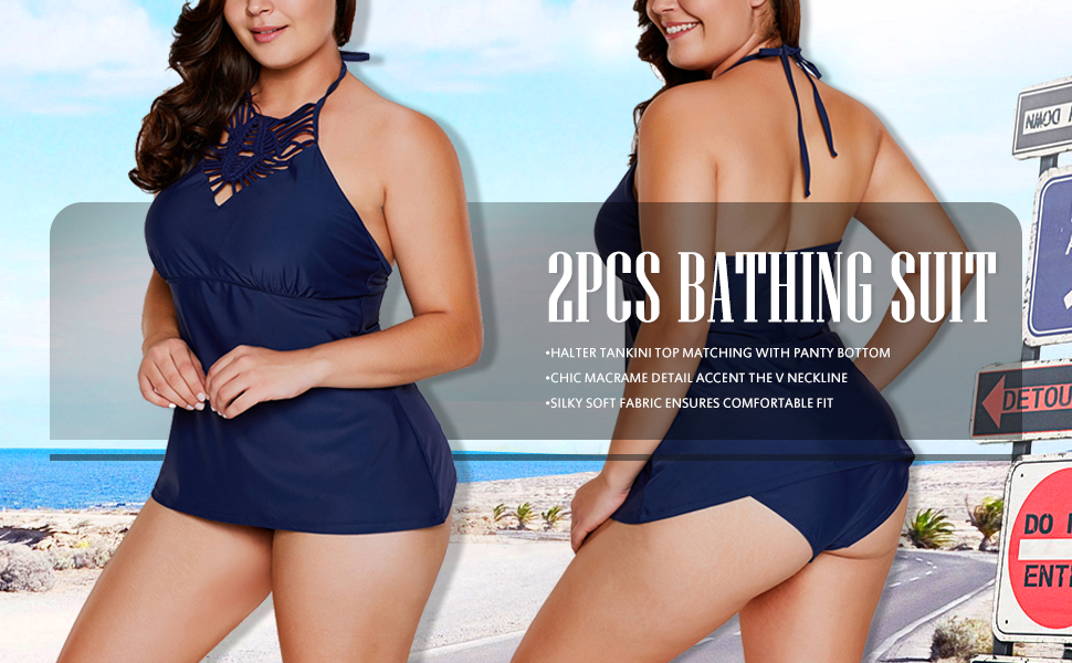 c0d2c98d493 Amazon.com  Asvivid Women s Plus Size Crochet Halter Tankini ...