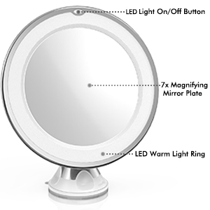 This Is An Elegant And Perfect 7x LED Makeup Mirror! Featuring An Adjustable,  Easy Lock Suction Cup, 360 Degree Swivel, Natural Daylight LED And 7x ...