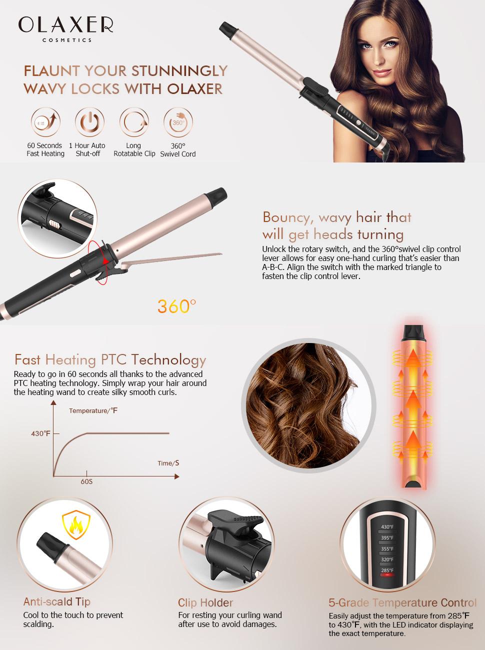 Amazon.com: olaxer rizador rizador de pelo con revestimiento ...