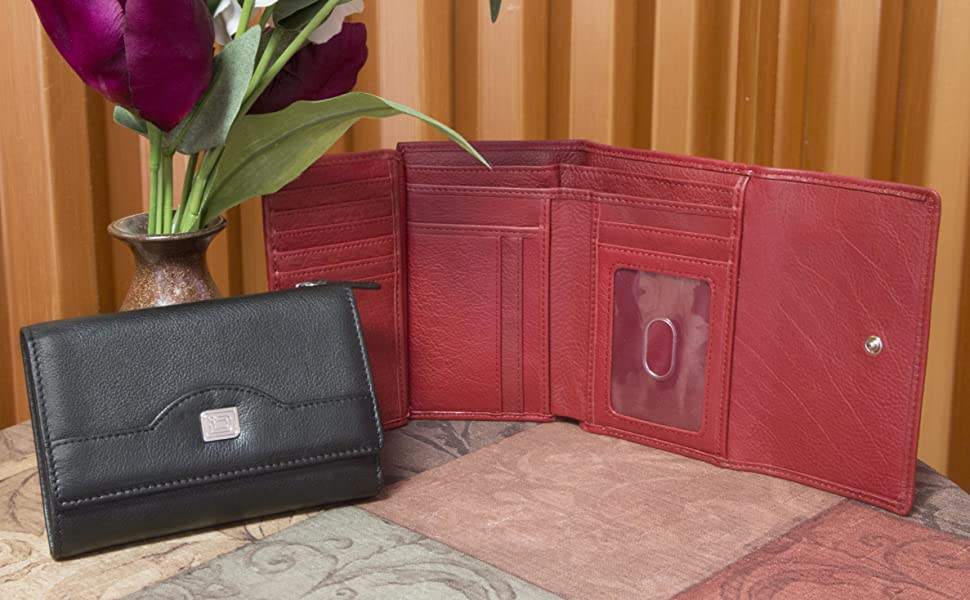 rfid blocking wallet for women ladies trifold genuine leather id slot snap fastener credit card