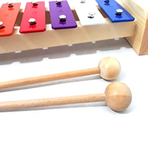 wooden mallets xylophone 8 notes metal educational toy for kids percussion instrument for toddlers