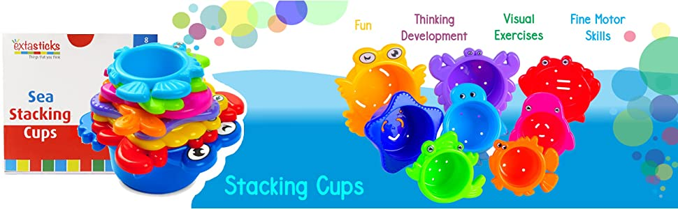 Stacking cups for toddlers kids bath toy water beach games baby girl boy sea animals educational